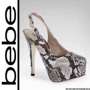 🌻BeBe platform Snakeskin slingback heels sizeUS 6